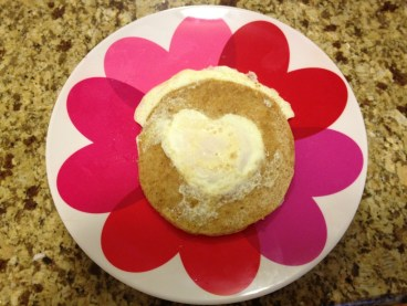 heart-shaped fried eggs for Valentine's Day