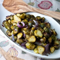 Roasted Brussels Sprouts with Red Onion and Bacon