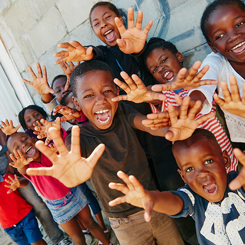 Cropped portrait of a group of kids at a community outreach event