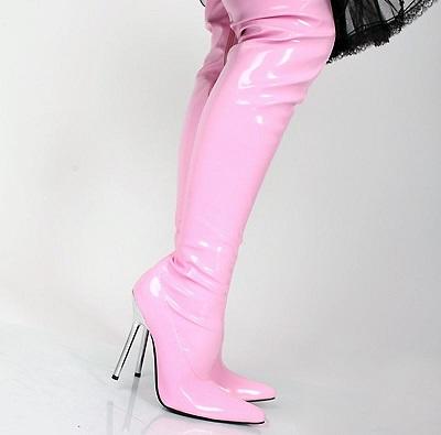 Lack Overknee High Heels pink Overkneestiefel von Kassiopeya