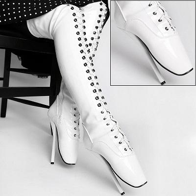Lack Overknee Ballett High Heels weiß Overkneestiefel von Kassiopeya