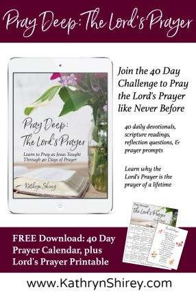 "Has the Lord's Prayer become more rote than meaningful? Learn how to pray the Lord's Prayer with more depth through ""Pray Deep: The Lord's Prayer"". The Lord's Prayer study guide is a 40-day scripture-based daily devotional, exploring the Lord's Prayer line by line. + FREE printable prayer challenge calendar."
