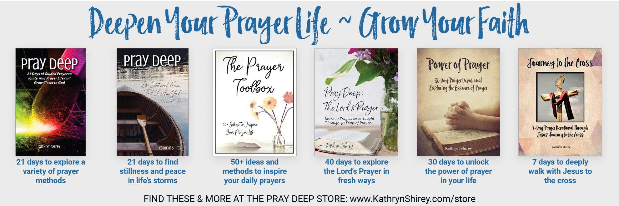 Daily devotionals to deepen your prayer life and grow your faith. Find free printables, prayer challenges, and daily devotionals in the Pray Deep Store