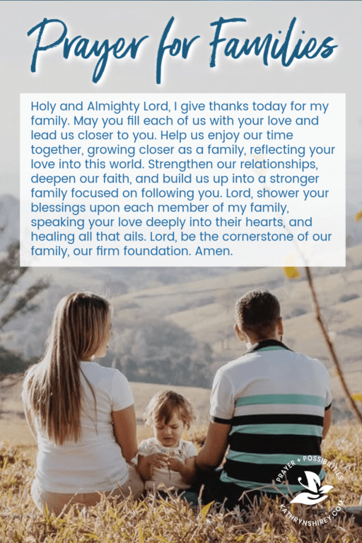 Daily prayer for families. Pray for your family relationships to be stronger and faith-filled. Pray for your family to be filled with God's love and peace.