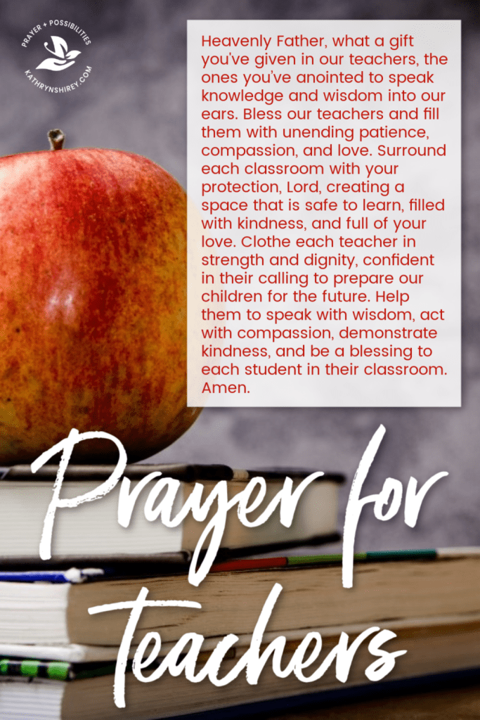 A daily prayer for teachers. Pray for strength, wisdom, compassion, and patience for teachers as they work tirelessly to prepare our children for the future.