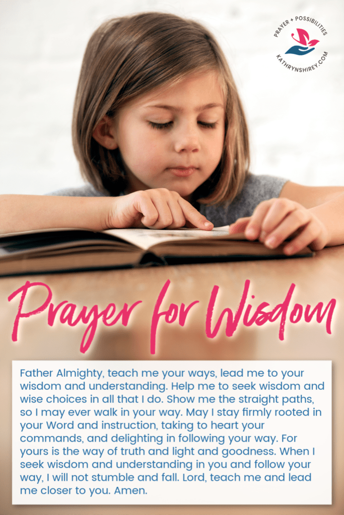A daily prayer for wisdom. Pray to seek God's wisdom in all things, following his path and his instruction in all that you do.