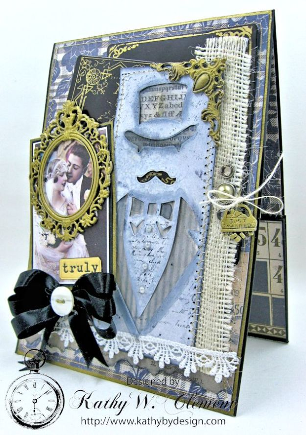 Dapper Wedding Card by Kathy Clement for Funkie Junkie Boutique 02