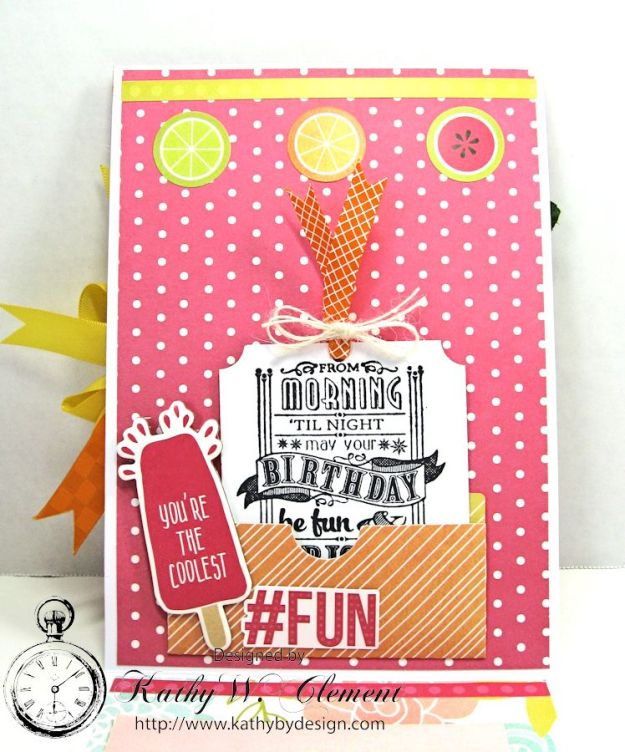 We All Scream for Ice Cream Ice Cream Birthday Card by Kathy Clement Simple Stories Sunshine and Happiness for Petaloo International Summer Fun 04