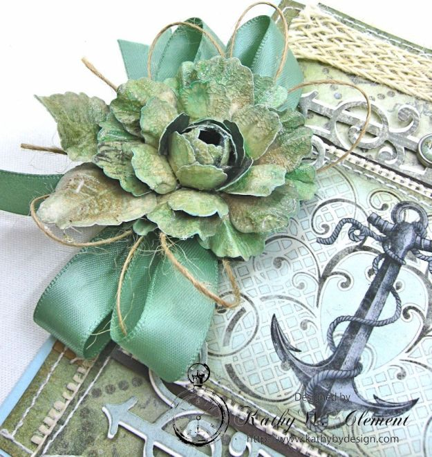 Nautical Rose Tutorial Card by Kathy Clement for Heartfelt Creations July 2016 Alumni Hop product by Really Reasonable Ribbon and Heartfelt Creations Photo 3