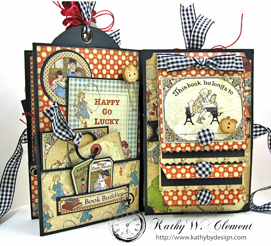 Back to school mini album abc primer by kathy clement for Waterfall design in scrapbook