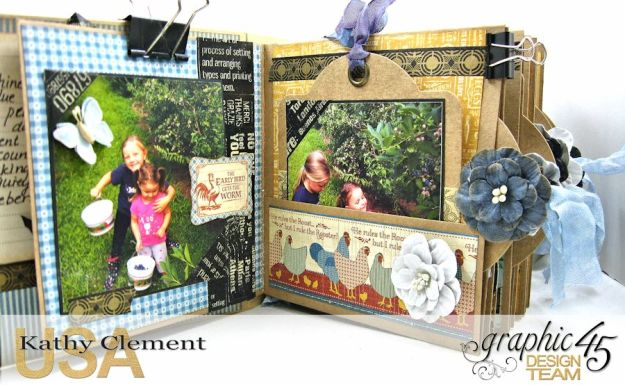 Blueberry Delight Mini Album Tutorial, Home Sweet Home, Staples Square Tag Album, by Kathy Clement, Product by Graphic 45 Photo9 17