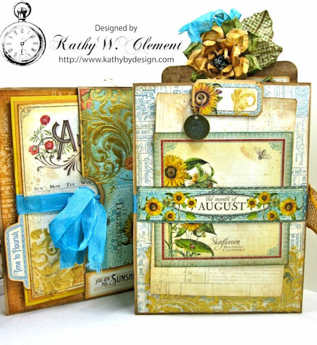 Sunflowers Mini Album, Time to Flourish, by Kathy Clement for Frilly and Funkie Floral Infatuation Challenge, Product by Graphic 45, Photo 10