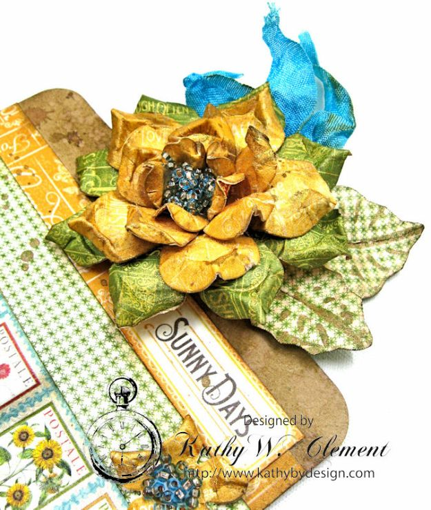 Sunflowers Mini Album, Time to Flourish, by Kathy Clement for Frilly and Funkie Floral Infatuation Challenge, Product by Graphic 45, Photo 8