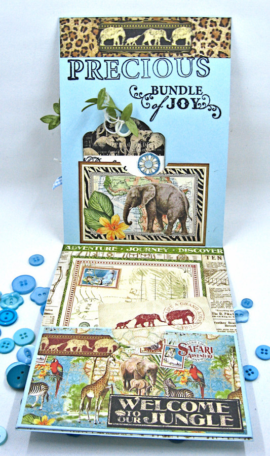 Welcome to our Jungle Baby Boy Elephant Card, Safari Adventure, by Kathy Clement, Product by Graphic 45 Photo 5