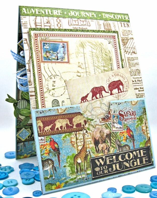 Welcome to our Jungle Baby Boy Elephant Card, Safari Adventure, by Kathy Clement, Product by Graphic 45 Photo7