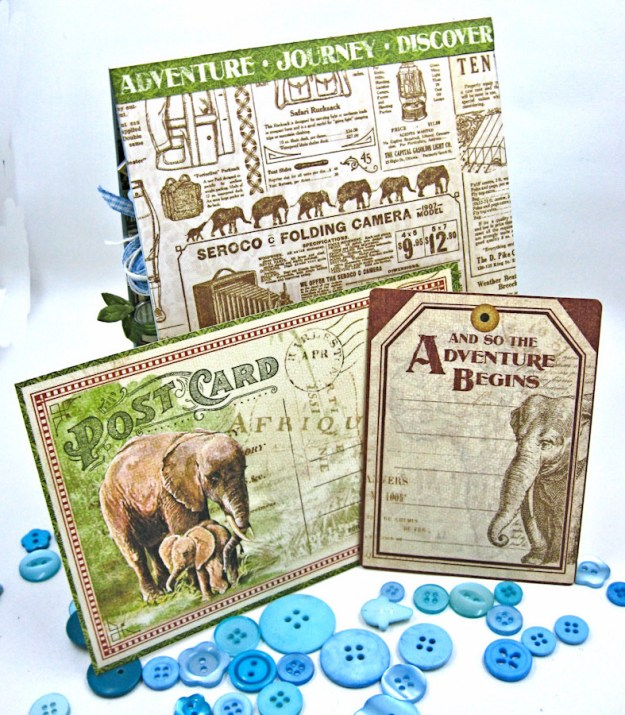 Welcome to our Jungle Baby Boy Elephant Card, Safari Adventure, by Kathy Clement, Product by Graphic 45 Photo8