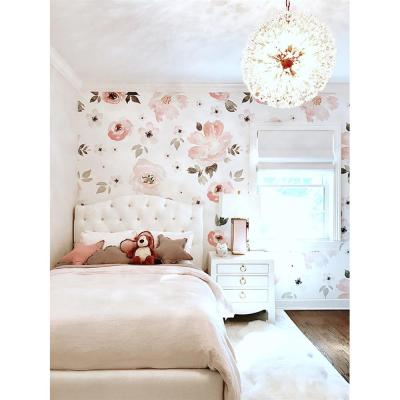 Anewall Pretty In Pink Modern Classic Pastel Floral Removable Wallpaper