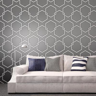 Honeycomb Industrial Loft Grey White Black Removable Wallpaper | Kathy Kuo Home