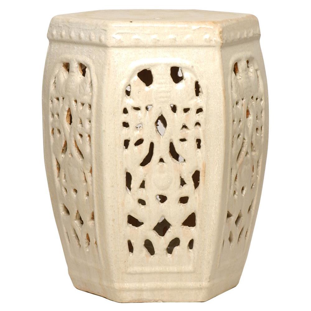 Artistic Hexagon Pierced Ceramic Garden Champagne Glaze Kathykuo Home Hexagon Pierced Ceramic Garden Champagne Glaze Ceramic Garden Stool Ceramic Garden Stool Target houzz 01 Ceramic Garden Stool