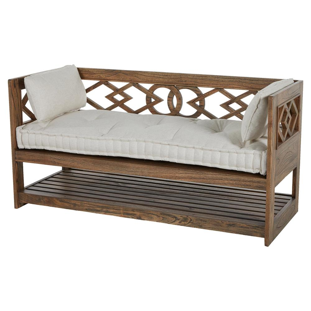 Modena Tufted French Linen Rustic Wood Seating Bench Storage  Kathy Kuo  Home Sofa Bench With Storage27