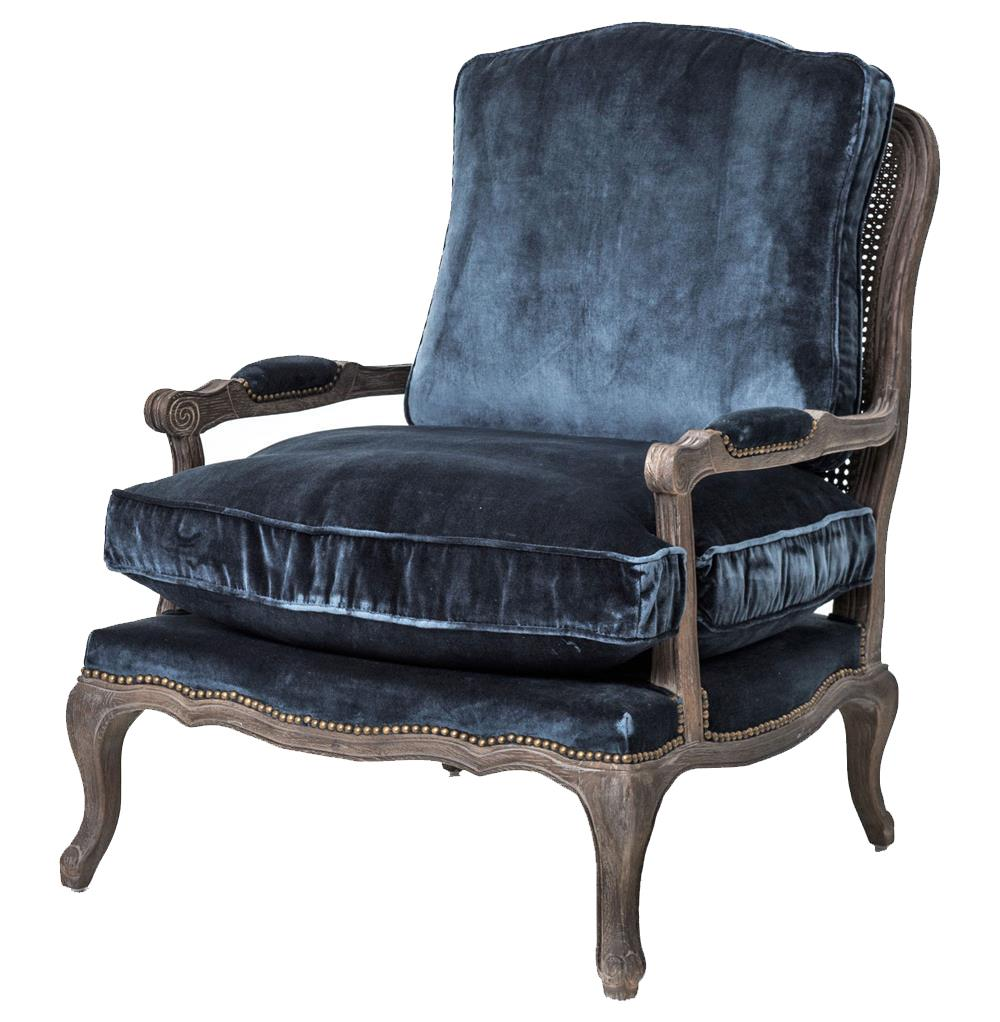 Compelling Ottoman Set Sasha Blue Velvet French Style Oak Accent Bergere Accent Armchair Kathykuo Home Sasha Blue Velvet French Style Oak Accent Bergere Accent Armchair Velvet Chair furniture Velvet Chair With Ottoman