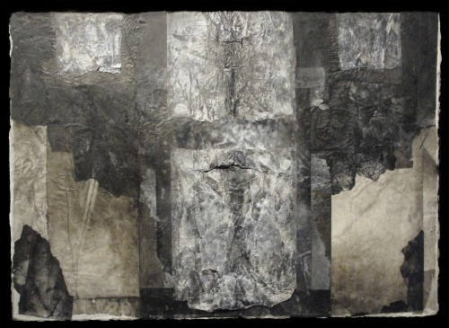 """Messenger Inks, wax, rice papers and handmade papers mounted on board 31""""w x 21""""h"""