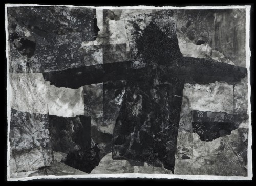 """Witness Inks, wax, rice papers and handmade papers mounted on board 31""""w x 22""""h"""