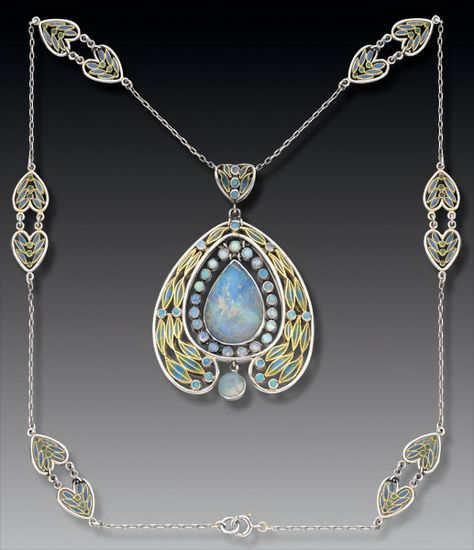Gold, plique-à-jour enamel, and opal necklace from Tiffany Studios, ca. 1902