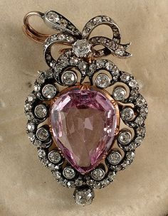Victorian Gold on Silver brooch pendant with natural Russian Pink Topaz