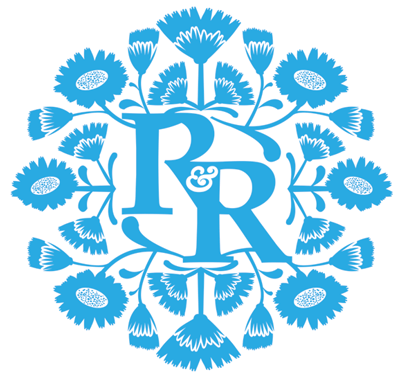 rest and restore logo design wild flowers beauty therapy botanical blue