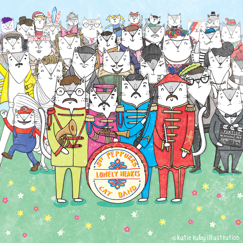 Sgt Peppers Lonely Hearts Cat Pun Illustration