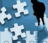 a person and a puzzle