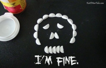 im fine, depression sucks, skull pills