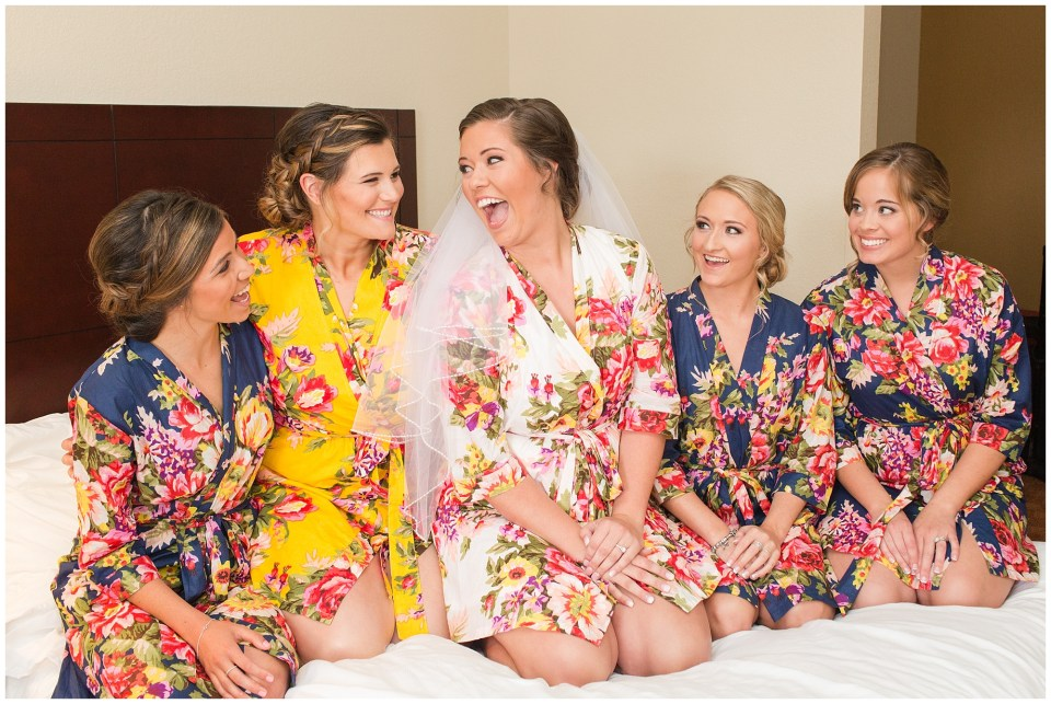 bride and her girls in floral robes
