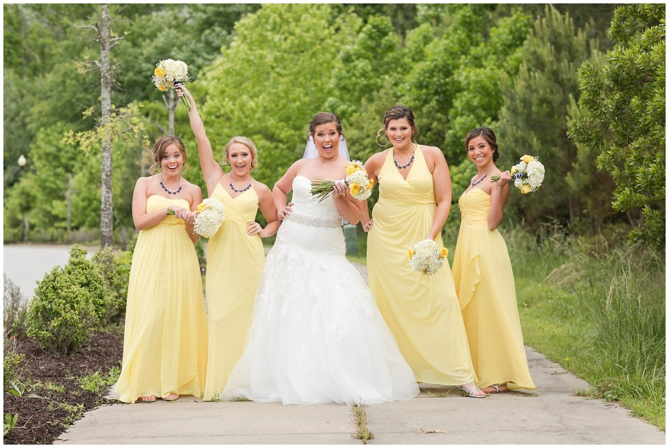 bride and bridesmaids being silly