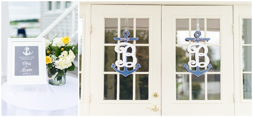 navy and yellow nautical wedding details