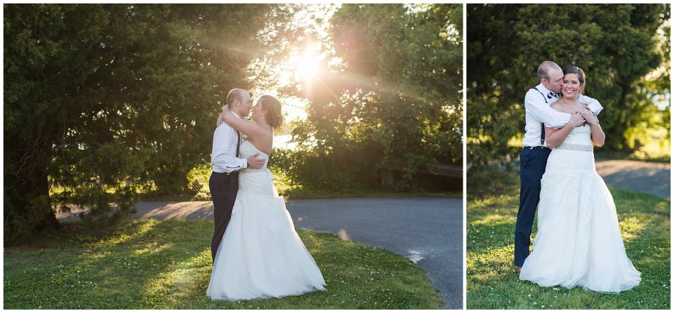 beautiful sunset for bride and groom portraits