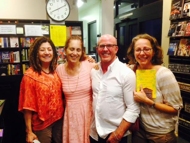 Yes, my eyes are closed. Phooey. With Scott Wilbanks, Michele Montgomery, and Kelly Byrne (with the book) at Book Soup). Meeting WFWA members is amazing!