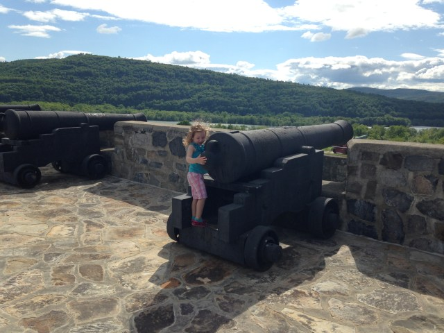 Rayleigh checking out the big cannons on the perimeter.