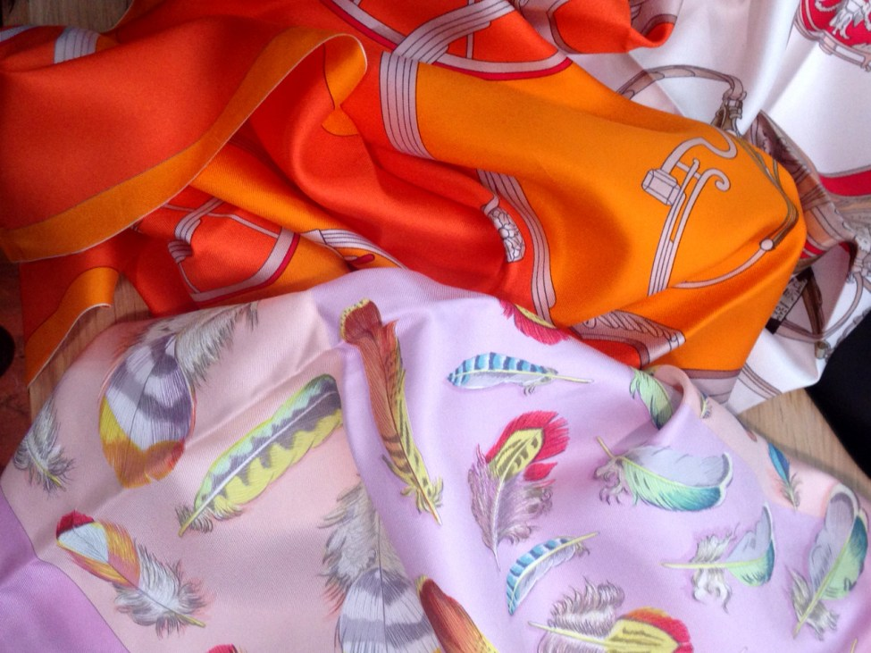 It takes the seamstresses an average of 45 minutes to hand roll and stitch the hem of an Hermès scarf.