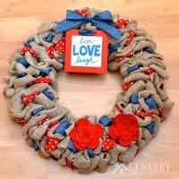 Burlap Wreath: Red, White and Blue Patriotic Decor