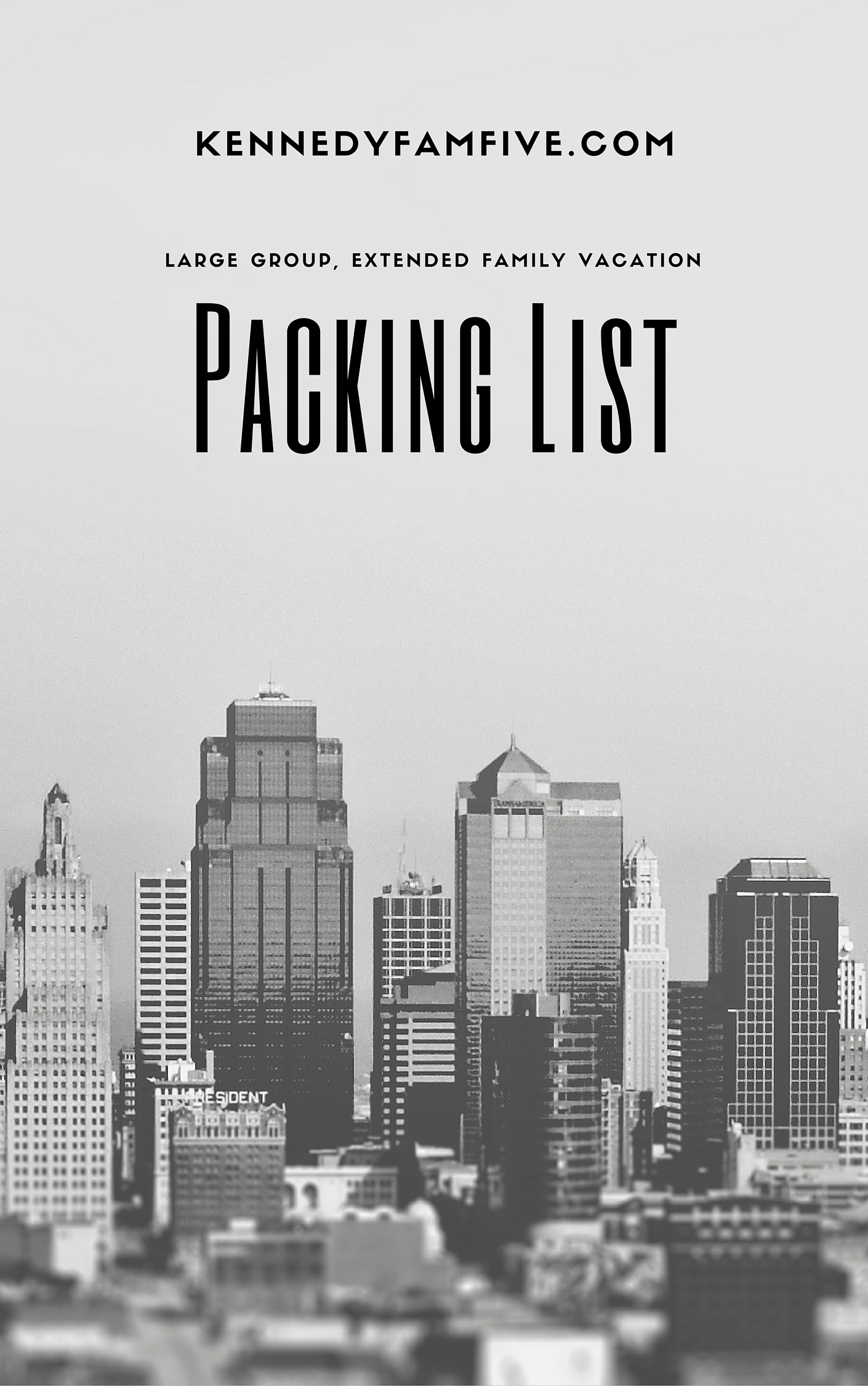 packing list for large groups. printable packing list for family vacataion.
