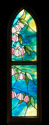 Cherry Blossom Framed Stained Glass Panel © David Kennedy 2011