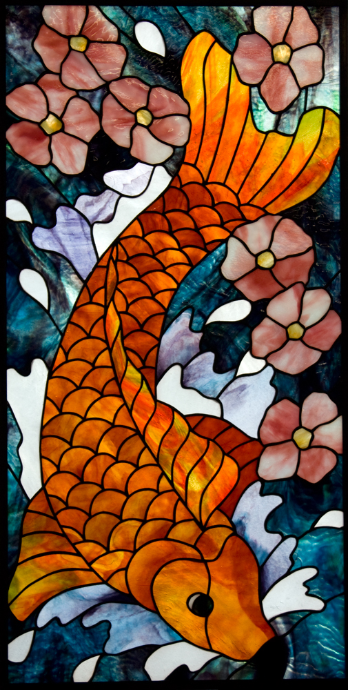 Un framed stained glass panel koi fish and cherry for Stained glass fish