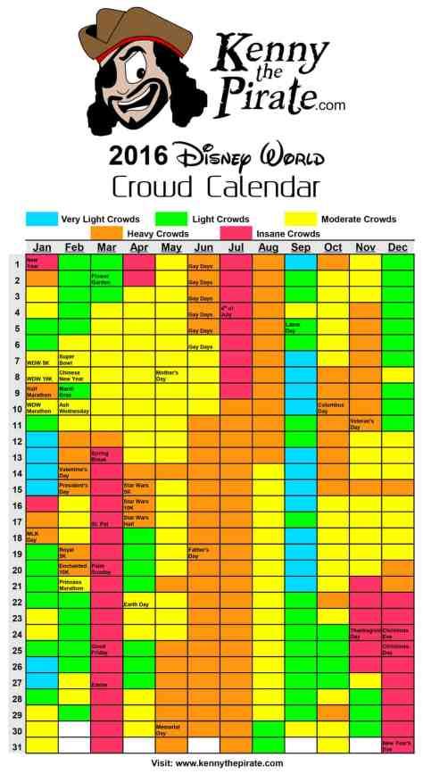 Disney Attendance 2016 | Calendar Template 2016