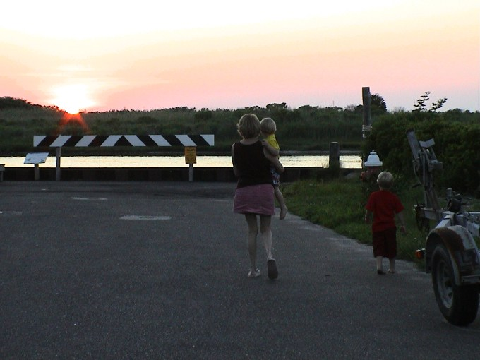 Anne, Ben and Ethan walking to the bay to see the sunset