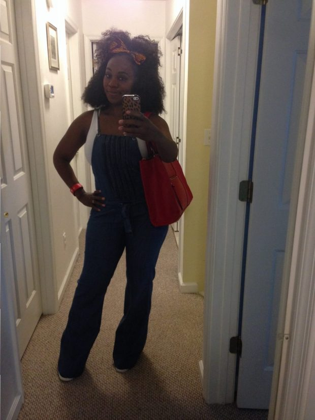 Bow: Custom made Tank: Walmart Overalls: Thrifted Wedge sneakers: Rock & Republic Bracelet: Body Central Bag: Target