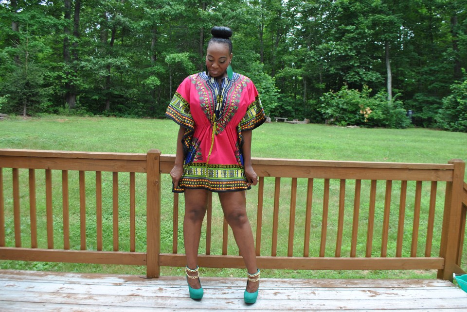 Drawstring Dashiki: Jazzy B's Remixx Boutique Shorts: Old Navy Shoes: Charlotte Russe Earrings: Body Central