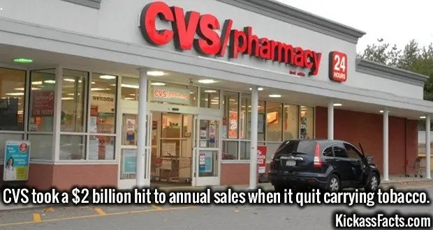 3636 CVS-CVS took a $2 billion hit to annual sales when it quit carrying tobacco.