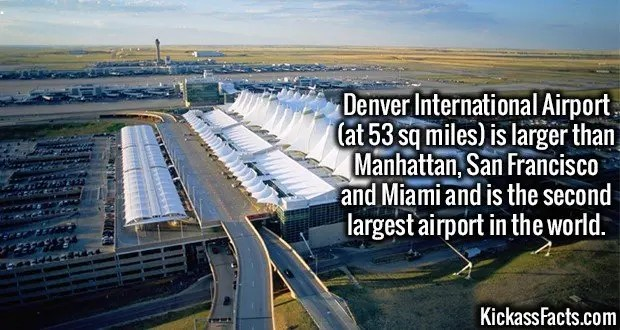 3639 Denver International Airport-Denver International Airport (at 53 sq miles) is larger than Manhattan, San Francisco and Miami and is the second largest airport in the world.